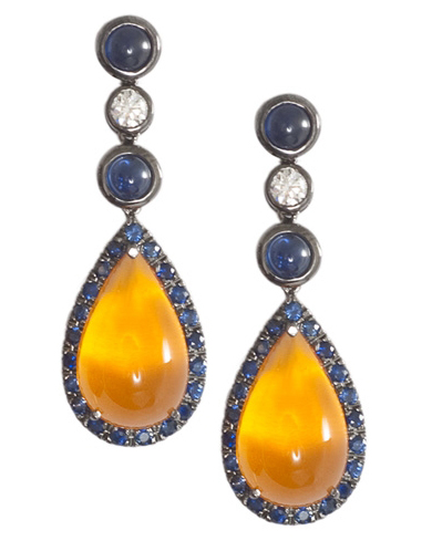 Pampillonia Designs fire opal and sapphire drop earrings