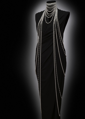 One-of-a-kind Angelic draping necklace with akoya pearls and diamonds from Mikimoto