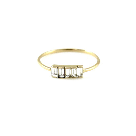 Amanda Keidan gold band with diamond baguettes