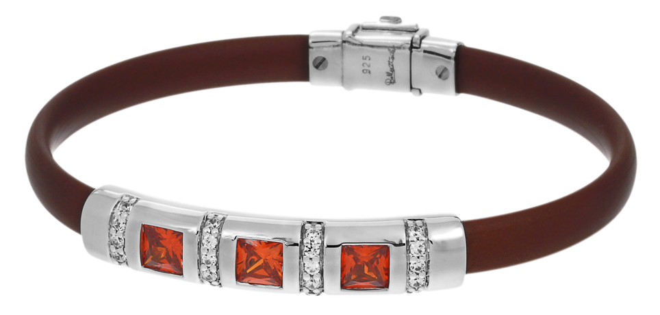 Belle Etoile rubber bracelet with silver and CZ