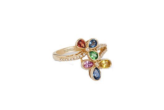 EFFY multi-color sapphire ring with diamonds in gold