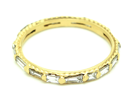 Polly Wales diamond baguette band in gold