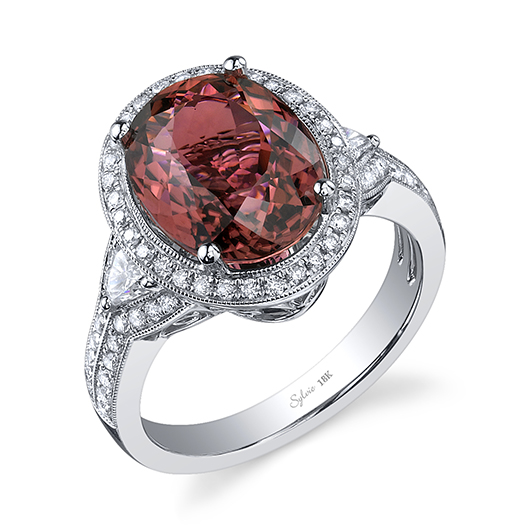 Sylvie ring in 18k gold with tourmaline and diamonds