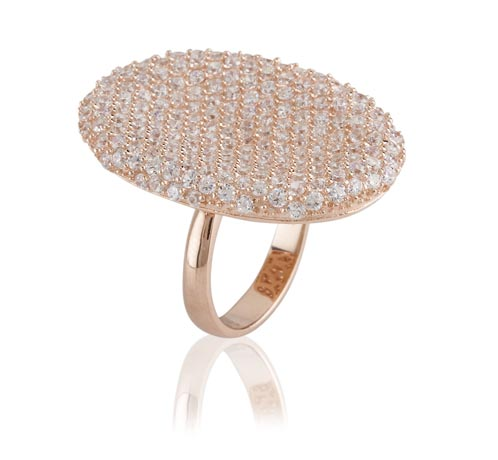 Brooke ring in gold plated silver and white topaz by Kara Ackerman Designs