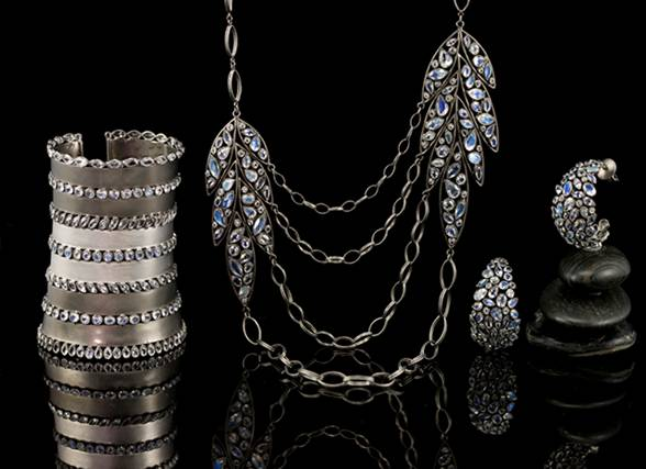 silver and moonstone jewelry from Lauren Harper  Collections