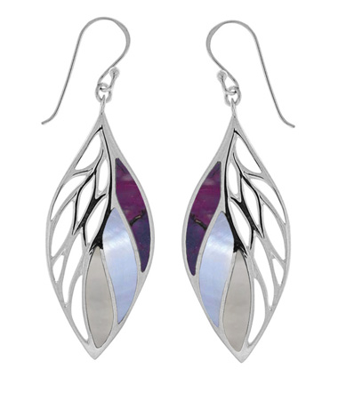 Boma silver leaf earrings with mother-of-pearl and purple turquoise