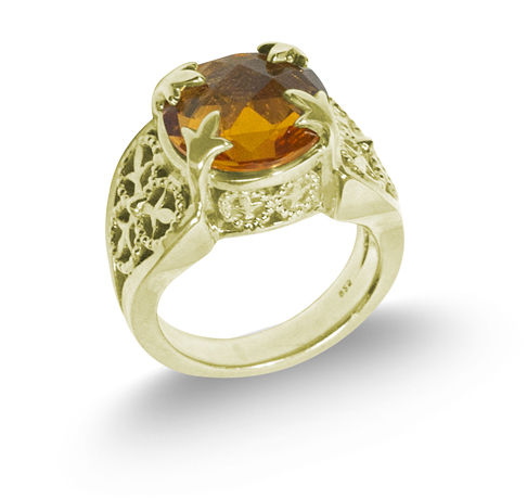 Lusciouss vermeil ring with citirne