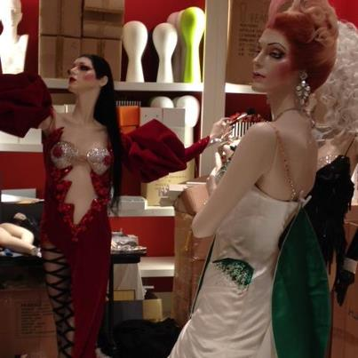 Zumanity Swarovski-studded costumes on display at Henri Bendel