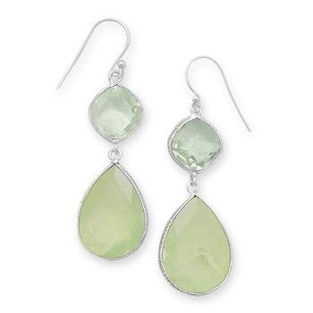 Silver Stars Collection green amethyst and phrenite earrings