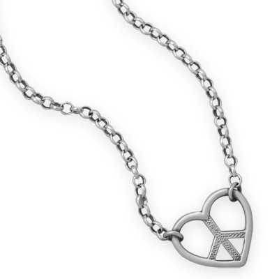 Silver Stars Collection peace and love necklace