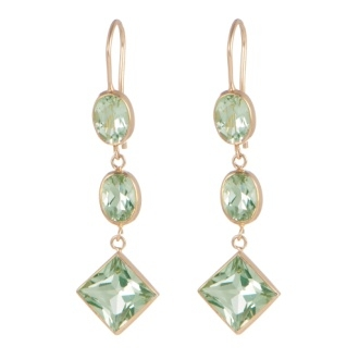 Karin Jamieson green amethyst line earrings