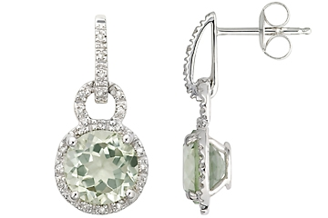 Ital-Can green amethyst halo drop earrings