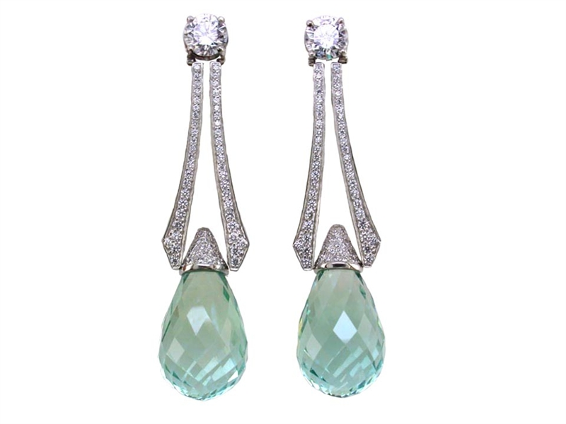 Oscar Heyman platinum aquamarine earrings