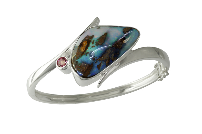 Parle Boulder opal and silver cuff