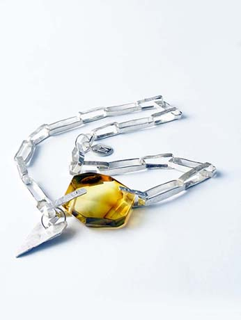 Silver and amber necklace from Moytle