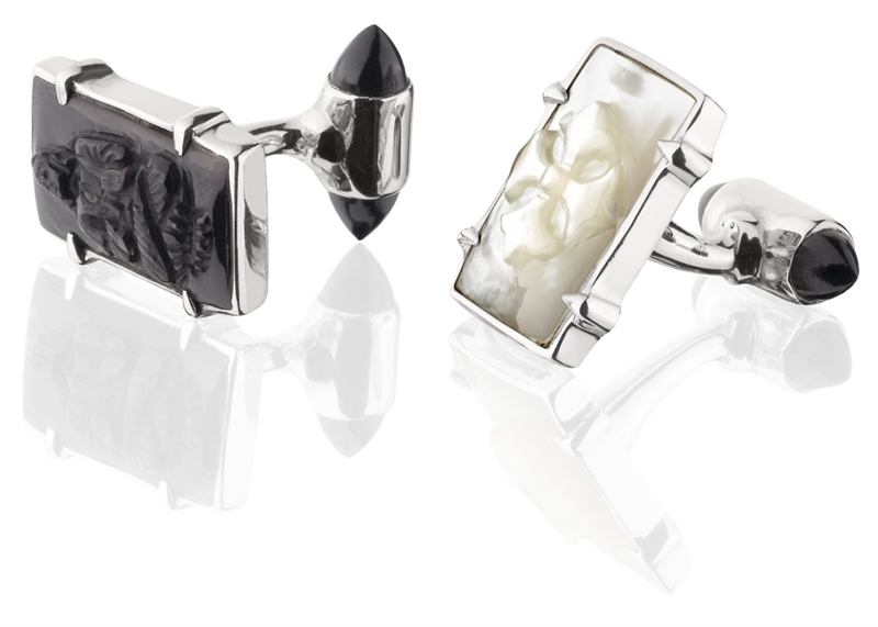 KIR carved mother of pearl cufflinks