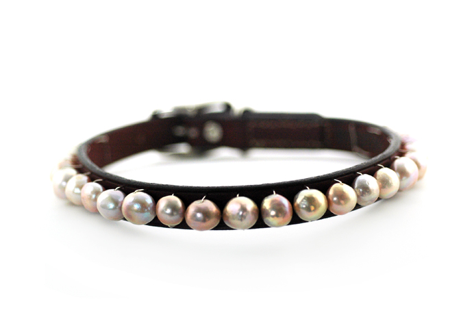 Freshwater pearl and leather dog collar from Tiffany Peay