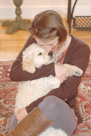 Jewelry desginer Tiffany Peay with Kashmir, her recently adopted Golden Retriever