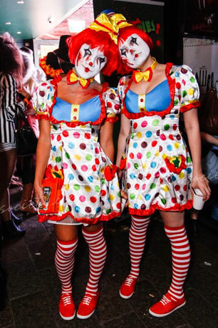 Jo Steuart of Passion for Pearls in Sydney, Australia, with a friend dressed as evil clowns
