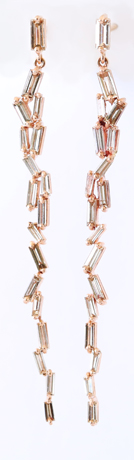 Linear drop earrings in 18k rose gold with 1.55 cts. t.w. baguette-cut diamonds, $6,200