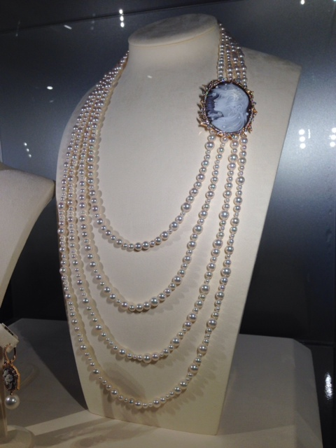 Mikimoto akoya pearl and cameo necklace