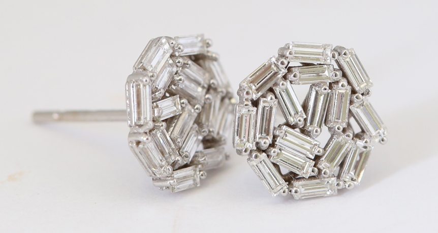 Diamond baguette stud earrings from Suzanne Kalan