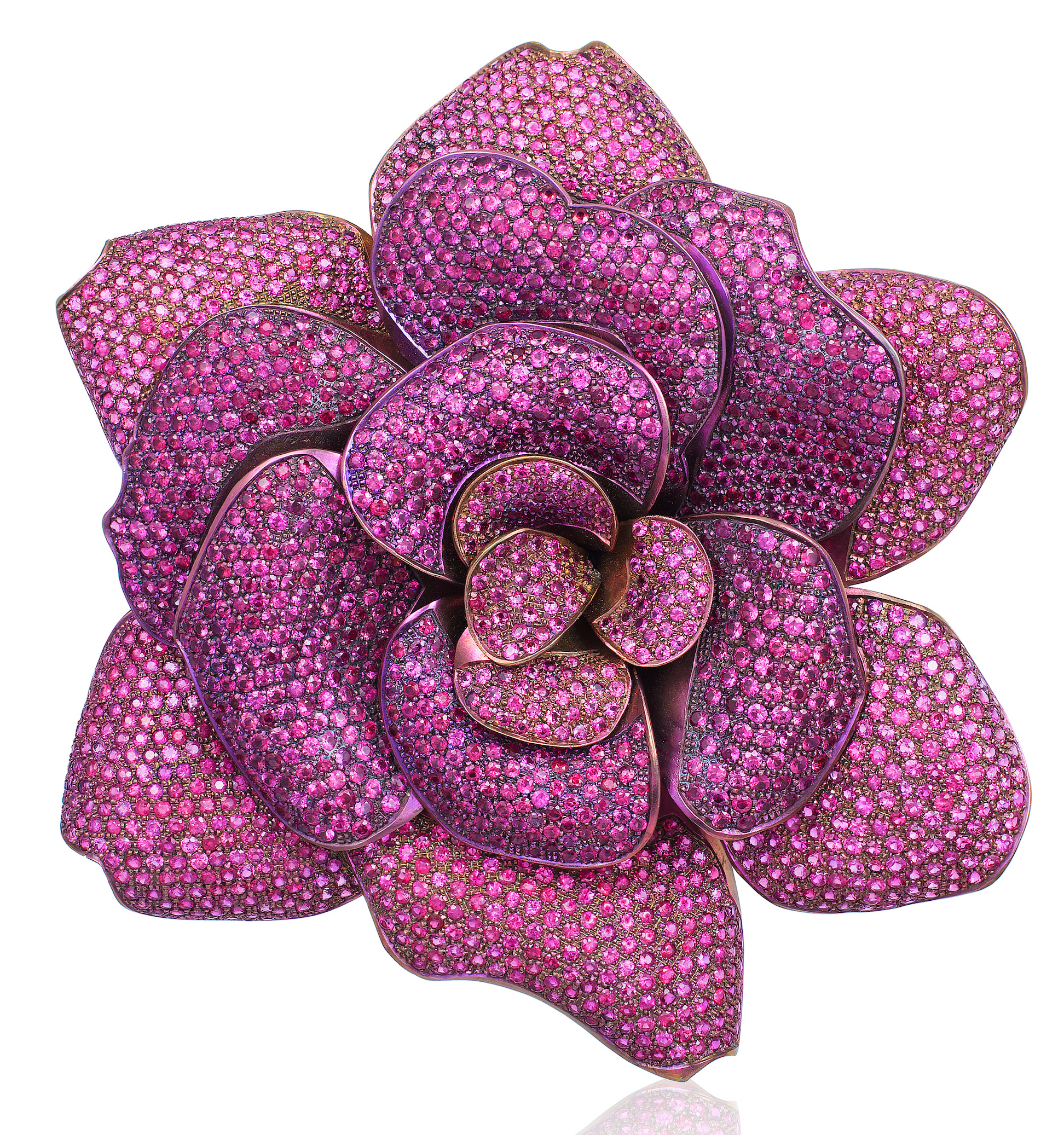 Andreoli pink sapphire flower brooch | JCK On Your Market