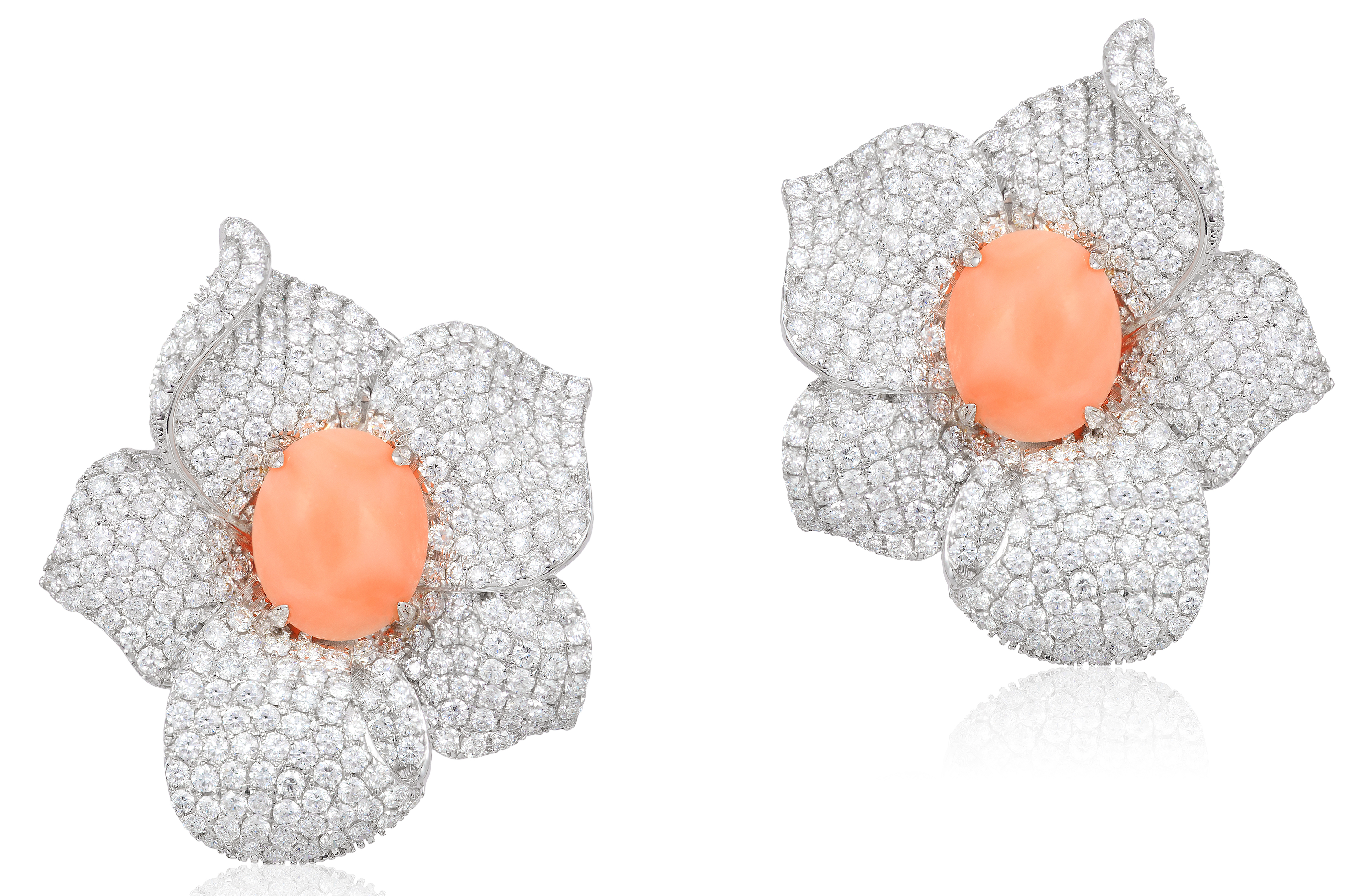 Andreoli coral and diamond flower earrings | JCK On Your Market