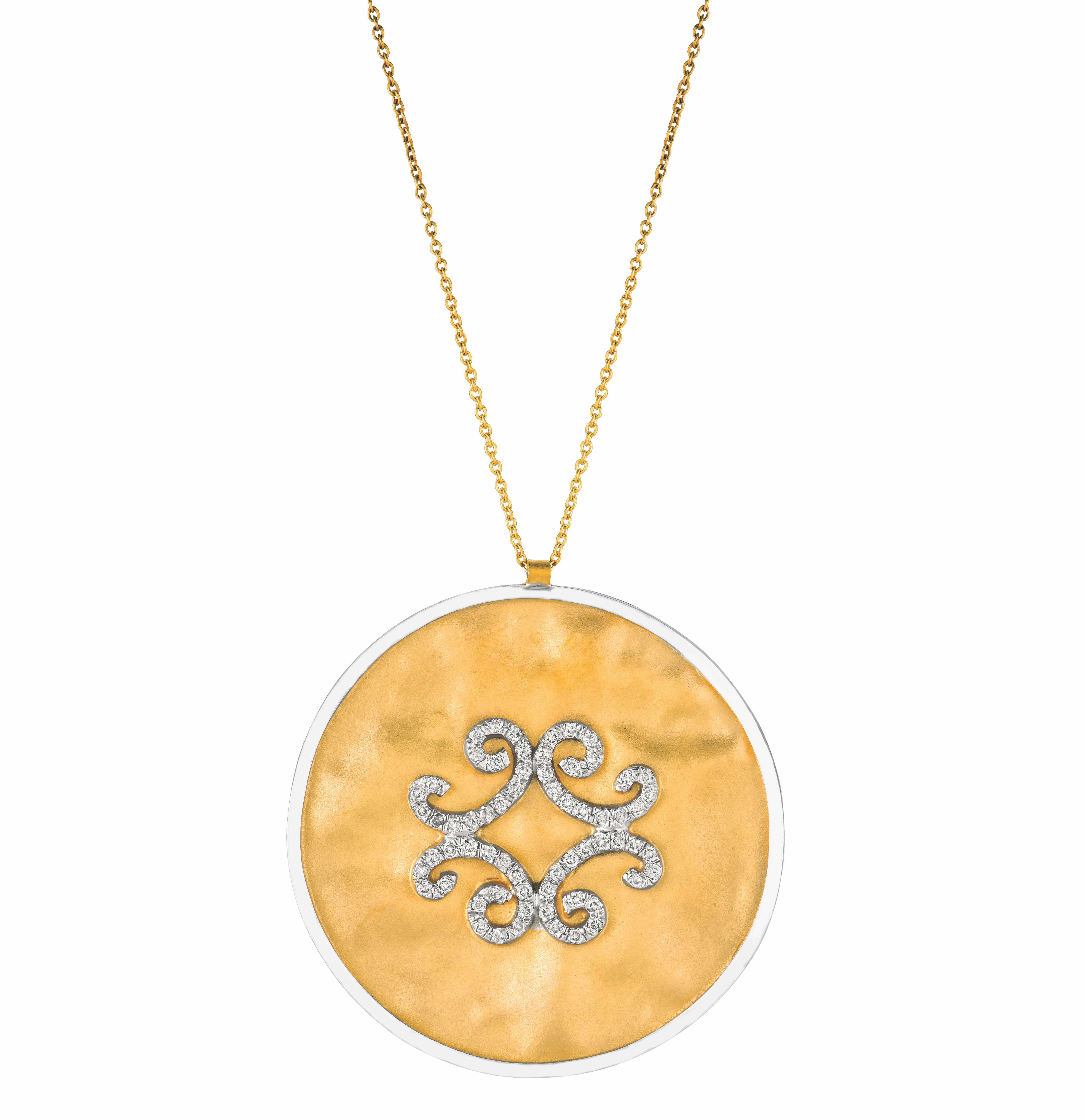 H. Weiss diamond scroll disc pendant | JCK On Your Market