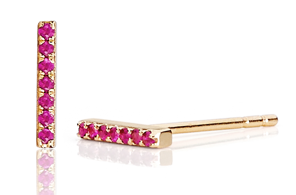 EF Collection pink sapphire bar stud earrings