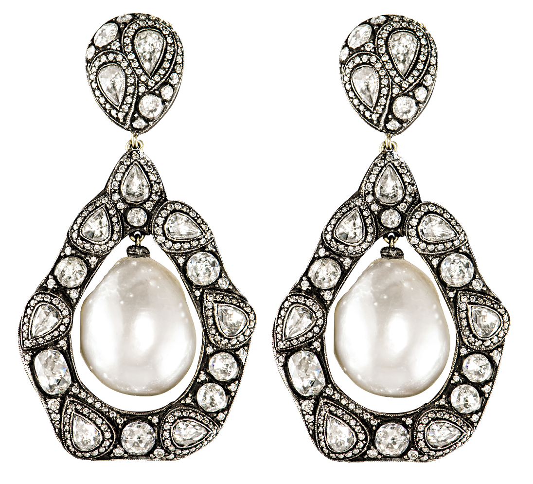 Gilan pearl and diamond drop earrings | JCK On Your Market