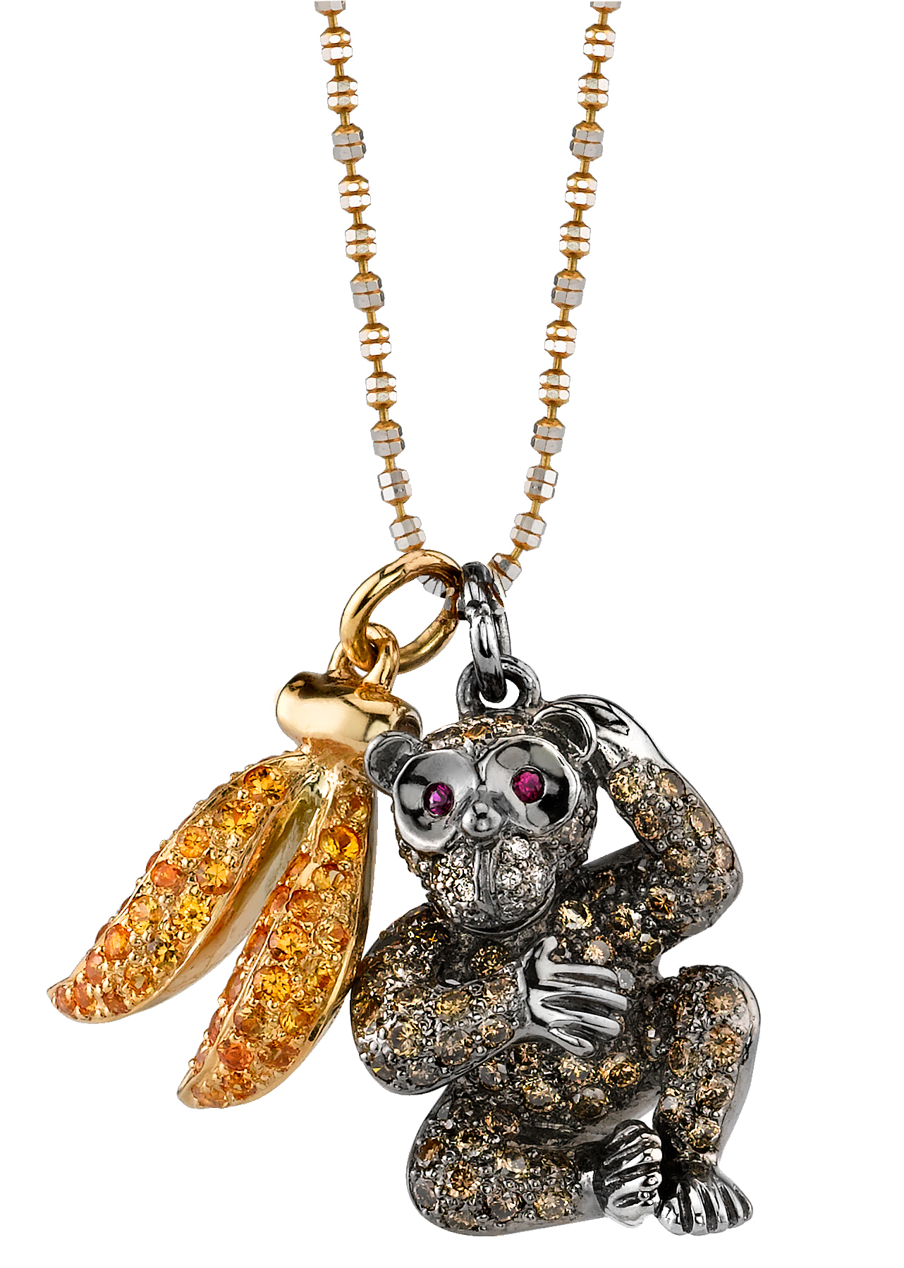 Borgioni monkey and banana double charm necklace | JCK On Your Market