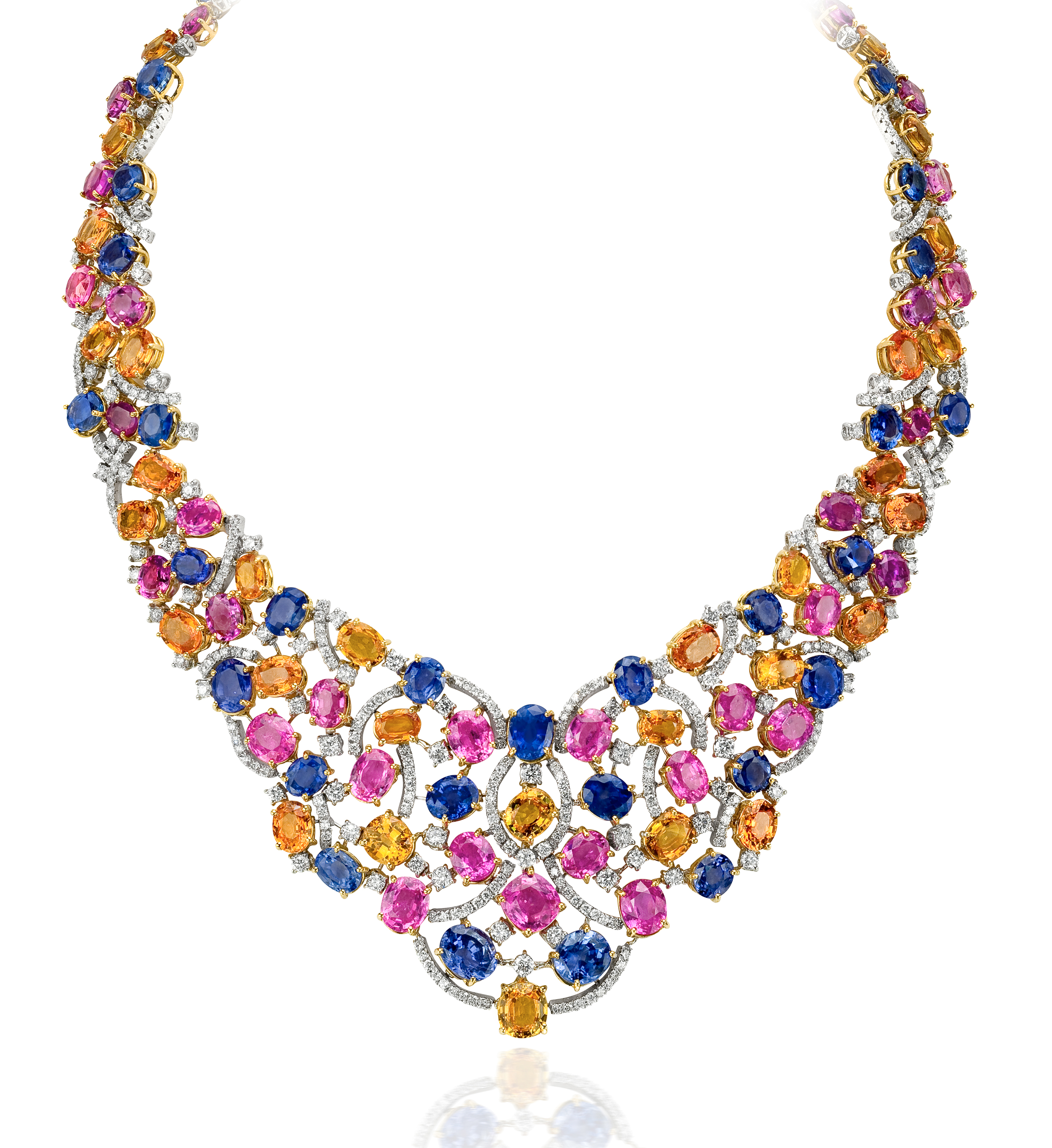 Andreoli multicolor sapphire and diamond necklace
