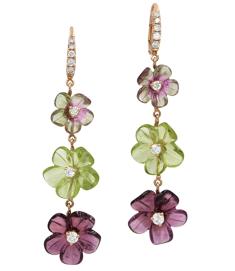 Rina Limor carved flower tiered earrings | JCK On Your Market