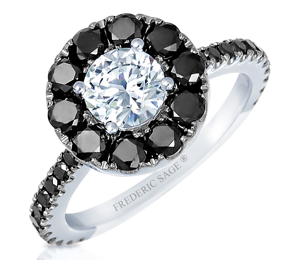 Frederic Sage black diamond halo engagement ring | JCK On Your Market
