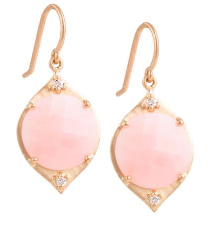 Jamie Wolfe gold drop earrings with pink opal and diamonds