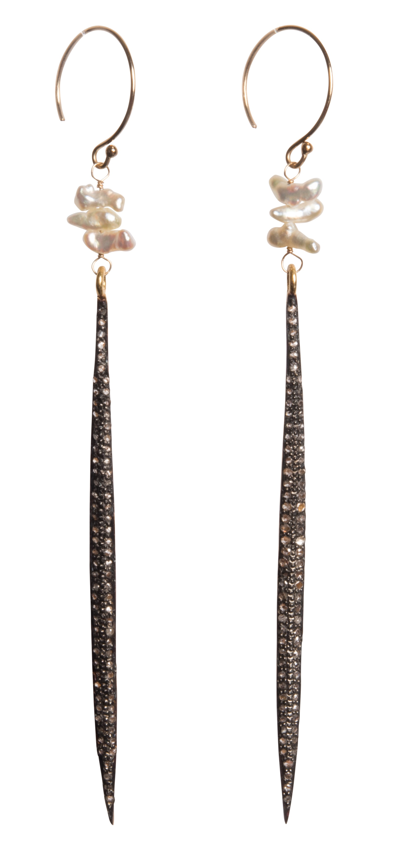 Tracy Arrington champagne diamond and pearl earrings | JCK On Your Market