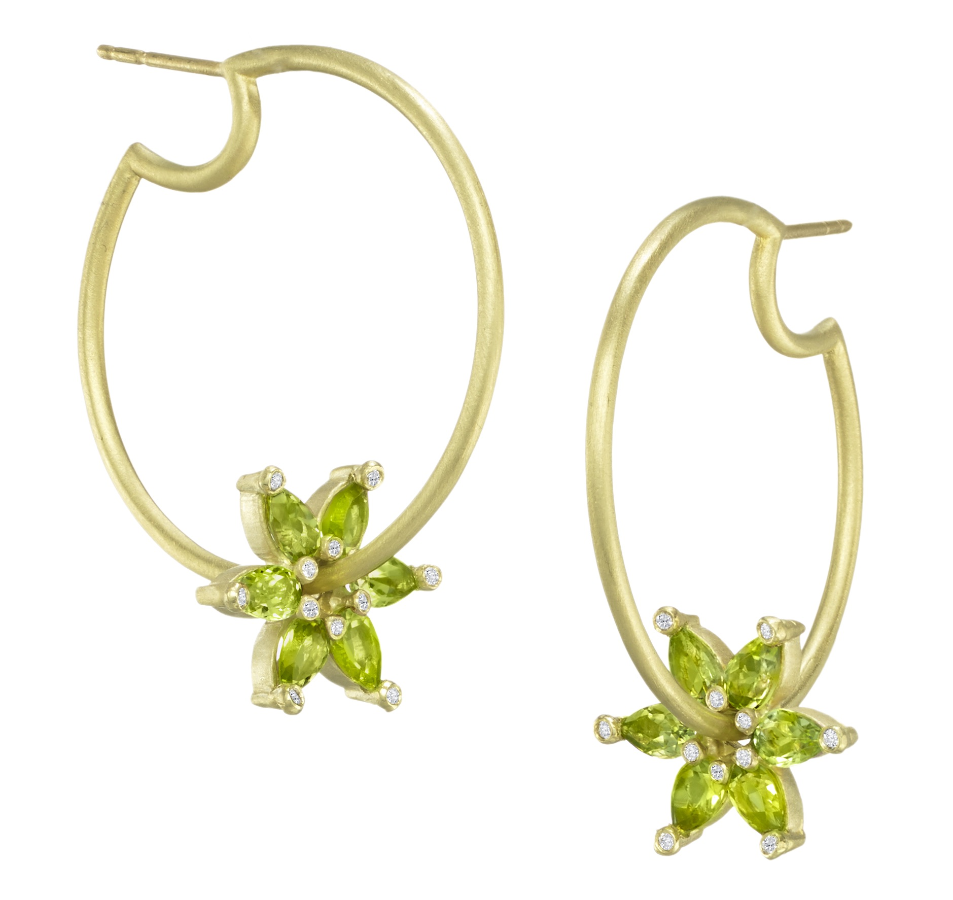 Suzy Landa peridot spinning gemstone hoop earrings | JCK On Your Market
