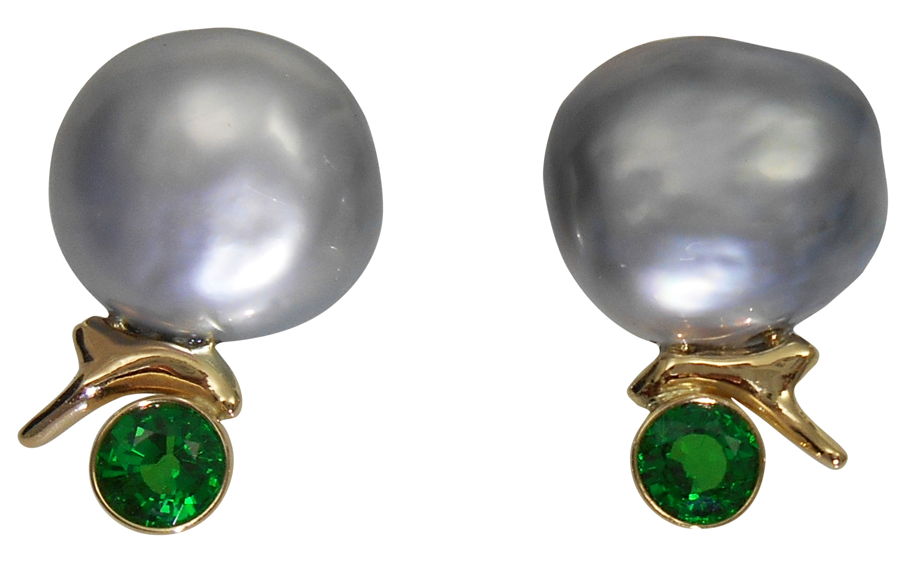 Alexis Barbeau pearl and tsavorite earrings | JCK On Your Market