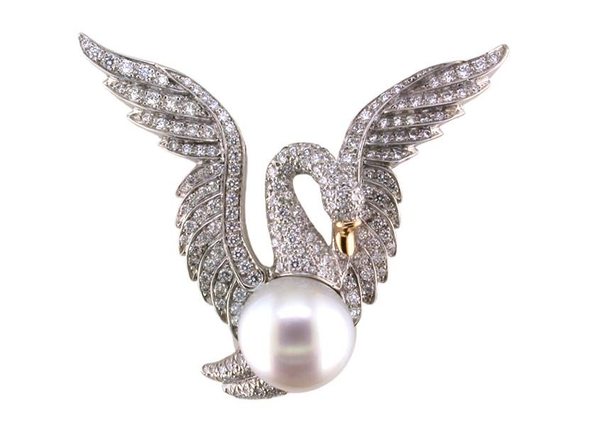 Oscar Heyman diamond and pearl swan brooch | JCK On Your Market