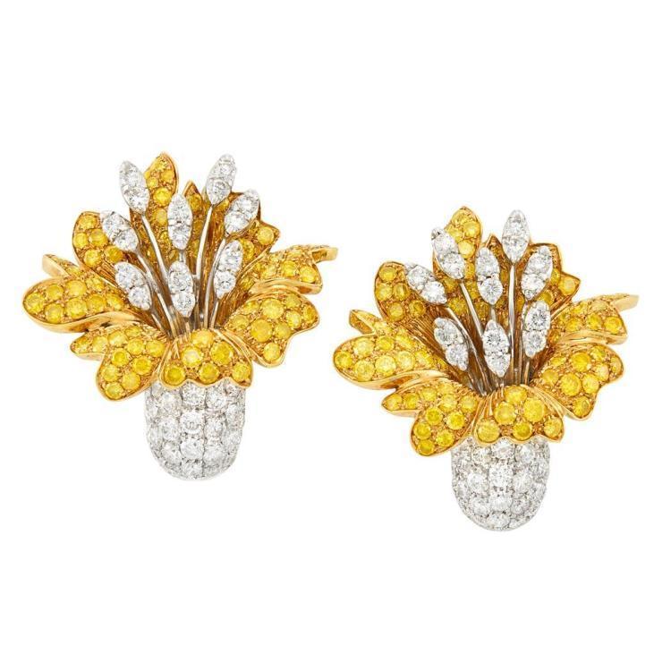 diamond lily ear clips