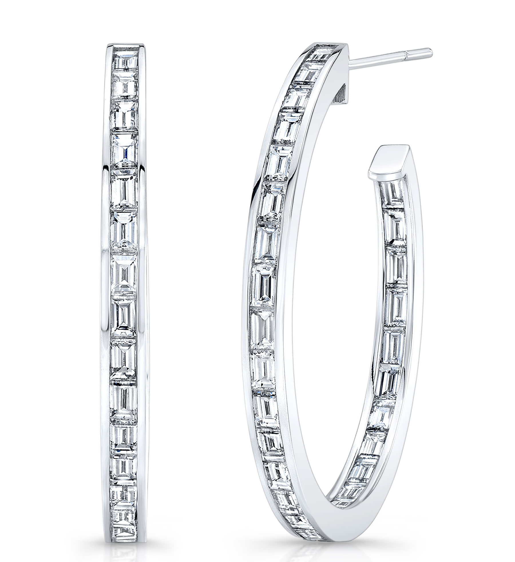 Rahaminov baguette diamond hoop earrings | JCK On Your Market
