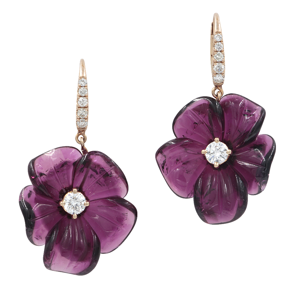 Rina Limor hand carved tourmaline flower earrings | JCK On Your Market