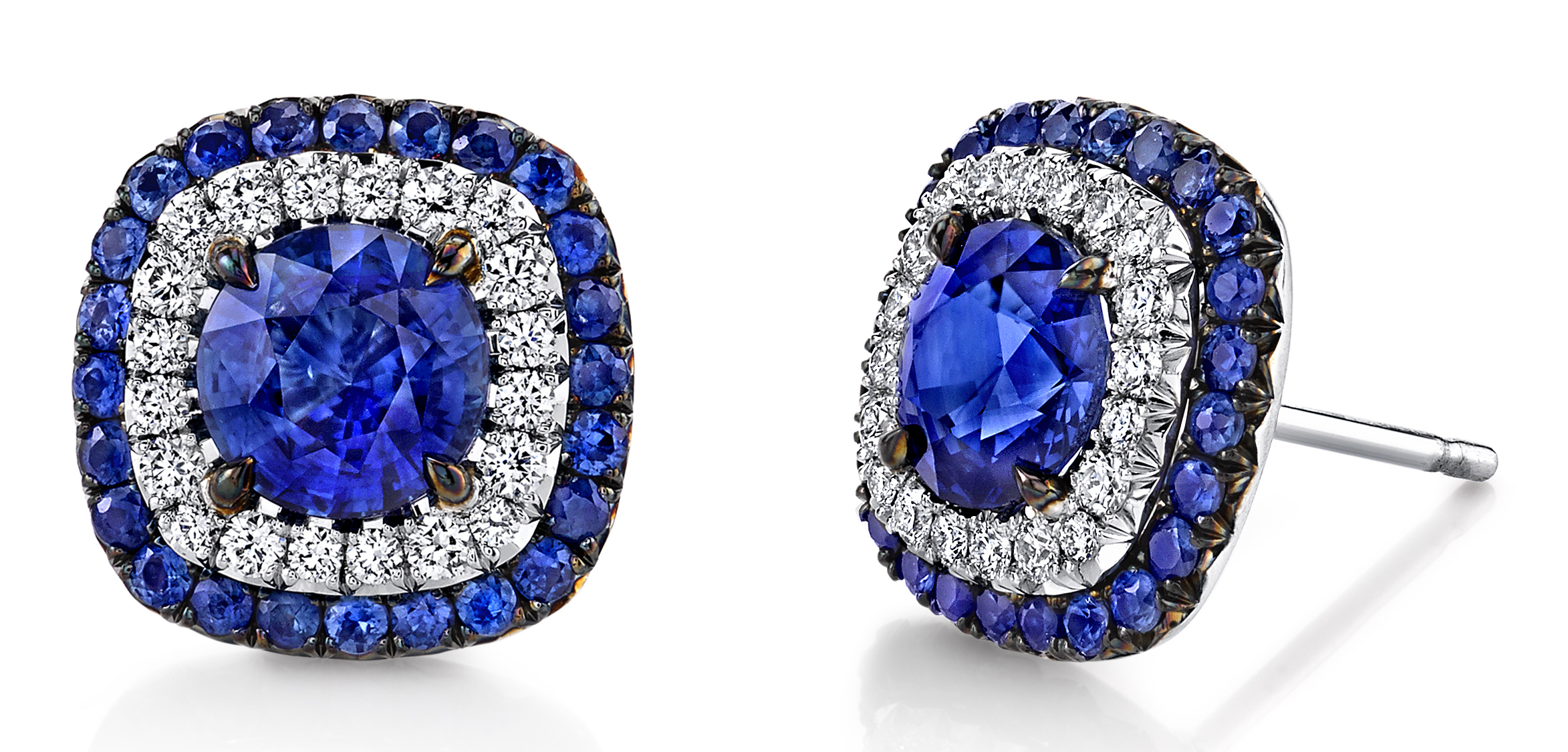 Omi Privé sapphire Duet stud earrings | JCK On Your Market