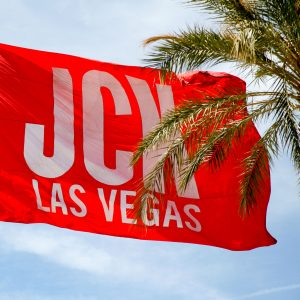 JCK Las Vegas flag blows in the wind