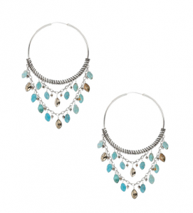 Turquoise and Swarovski crystal hoops
