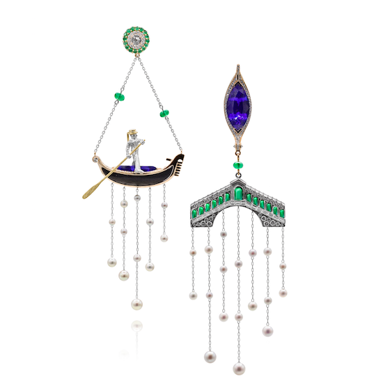 gondolier in gondola and bridge earrings