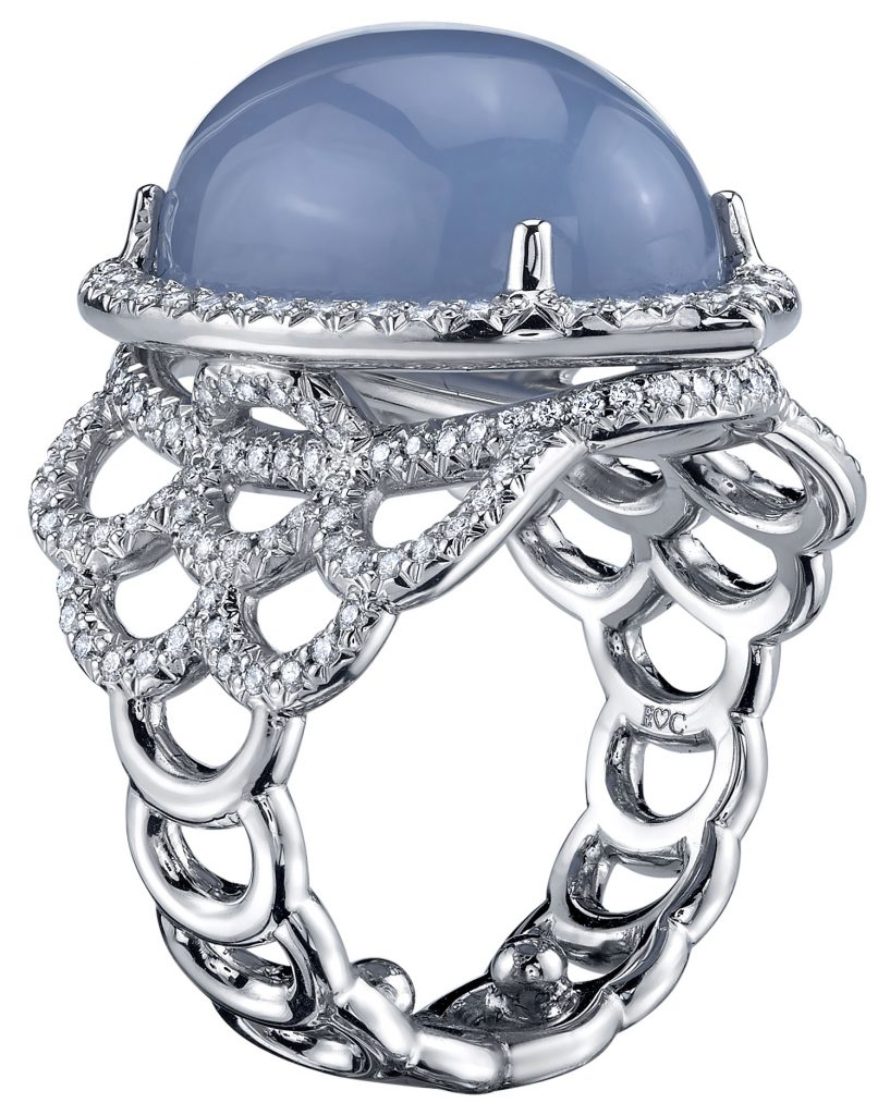 Treasure ring with blue chalcedony