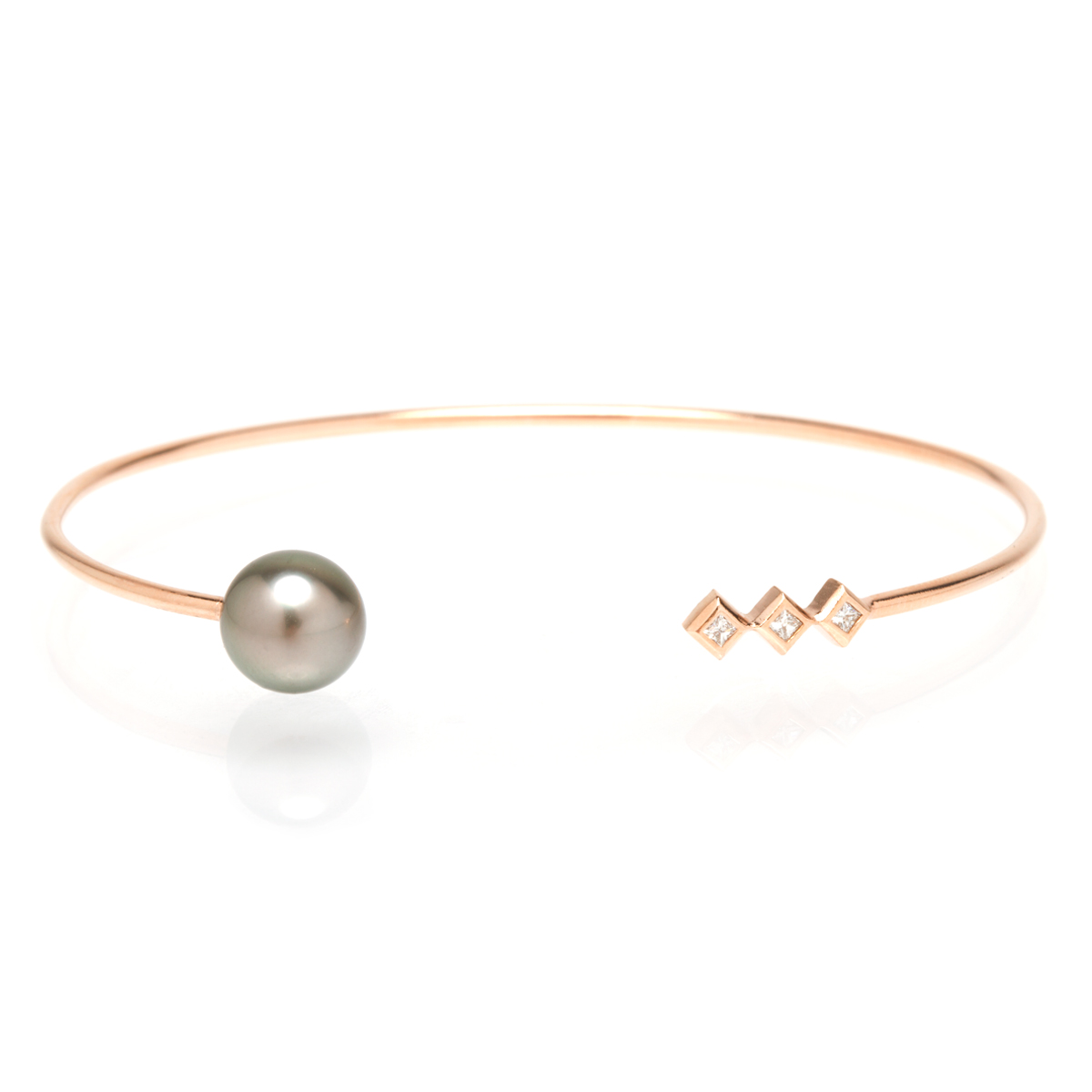Open Cuff With Three Princess Cut Diamonds And A Tahitian Pearl In 14k Rose Gold 895 Zoe Chicco