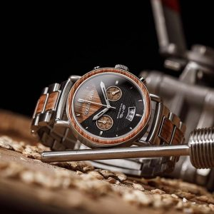 Original Grain Brewmaster Chrono watch on a woodworking table